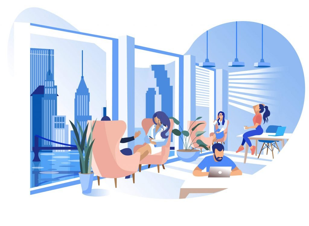 Working in a co-working space