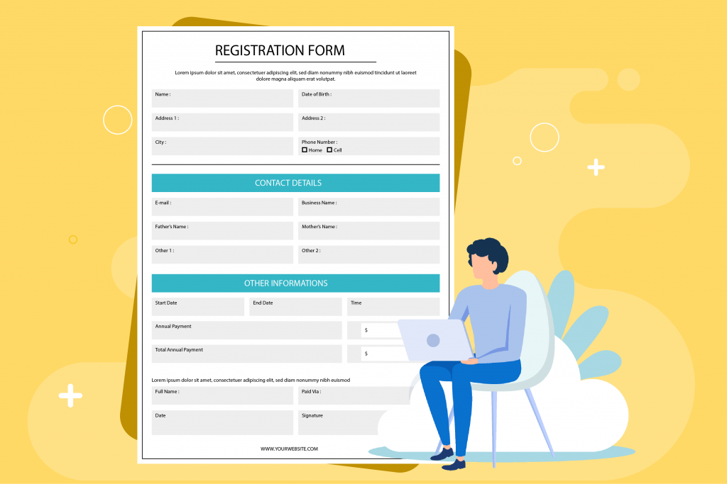 Registration form for contact tracing during coronavirus period